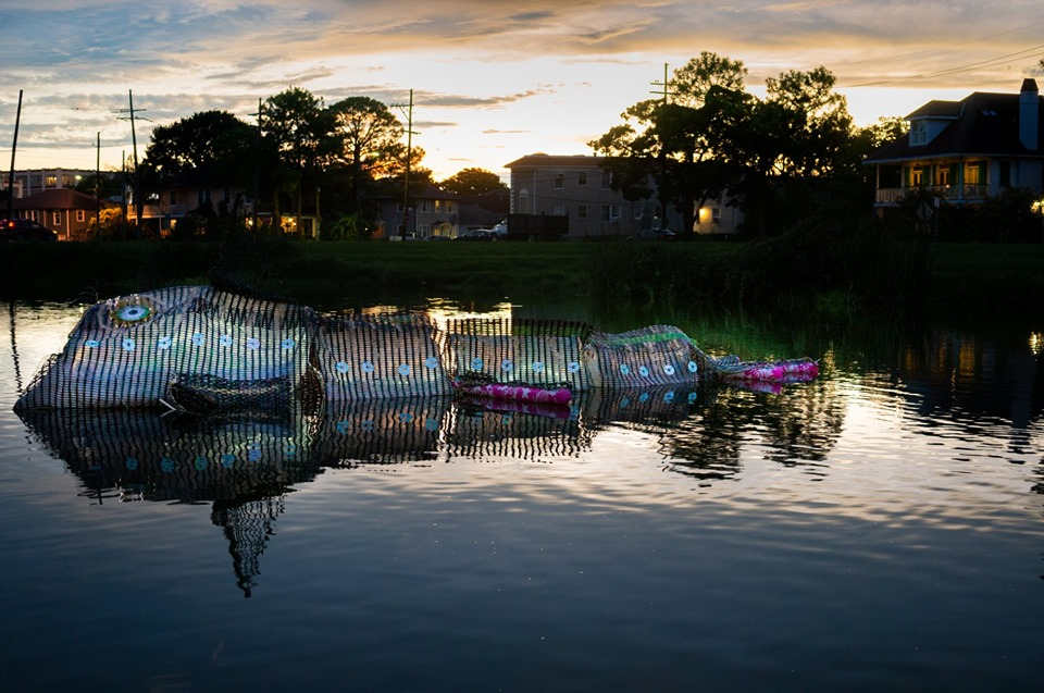 "Carole Alden led a New Orleans workshop to create ""Water Creature,"" a floating art work."