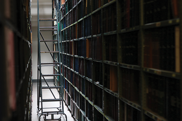 Ladder in the stacks at the Utah State Library for the Blind warehouse
